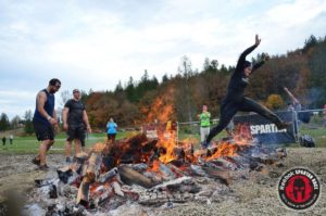 jumping across fire to get to the finish line!