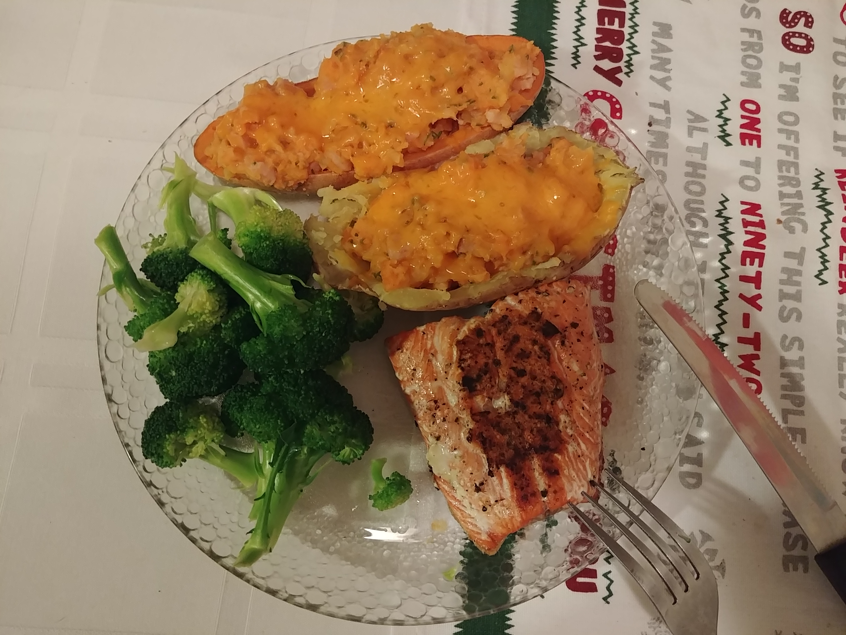 Twice Baked Yams with salmon and broccoli